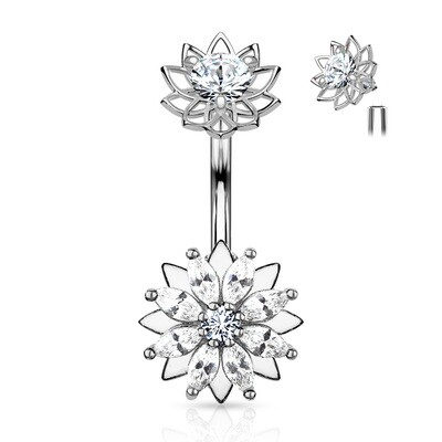 INT MARQUISE CZ FLOWER NAVEL
