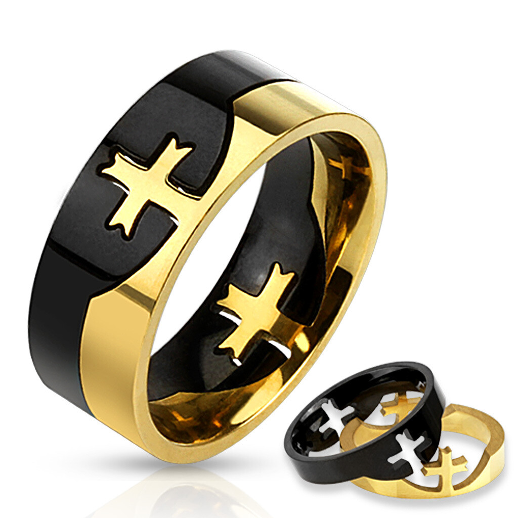 316L GLD/BLK CROSS PUZZLE RING