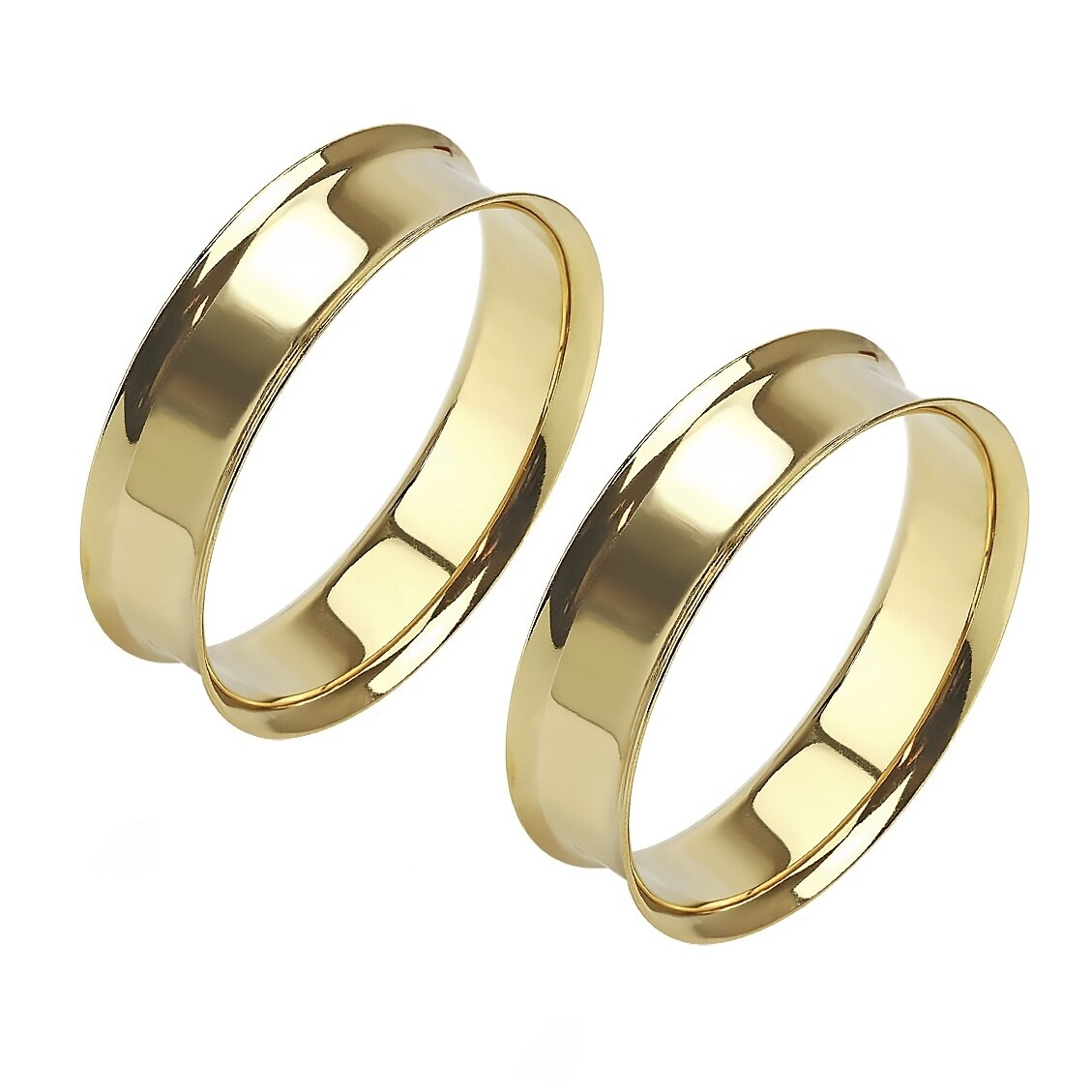 """GOLD PLT FLARE TUNNELS 1&1/2"""""""