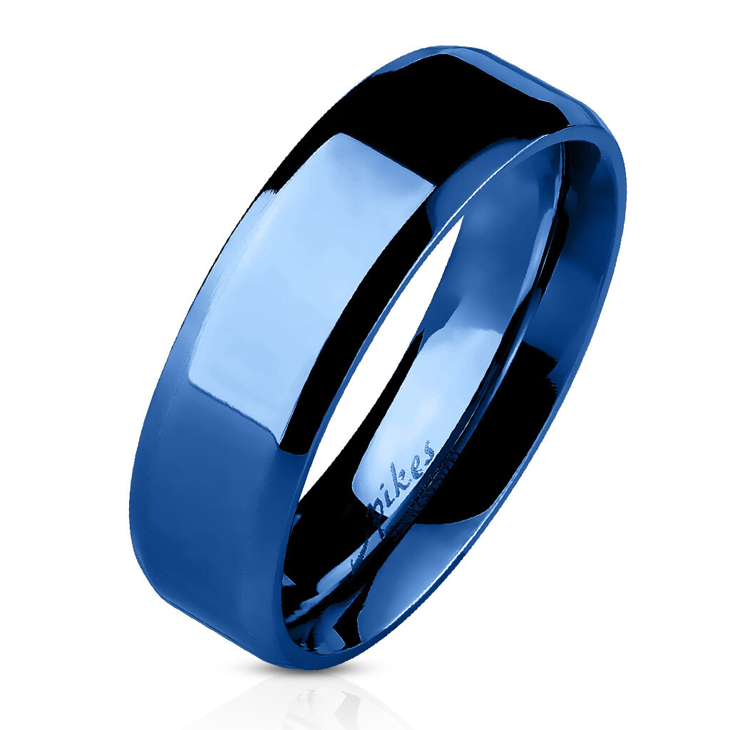 316L BLUE BEVELED RING