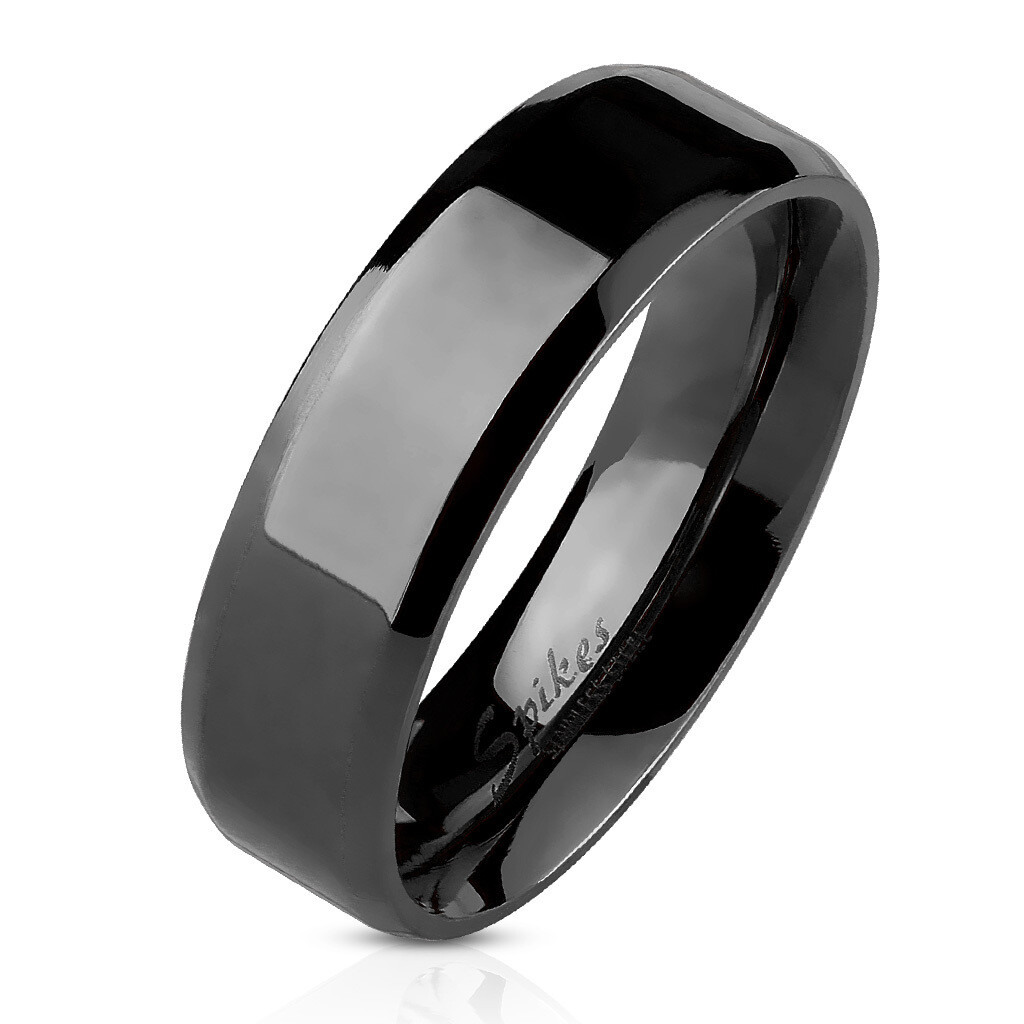 316L BLACK BEVELED RING