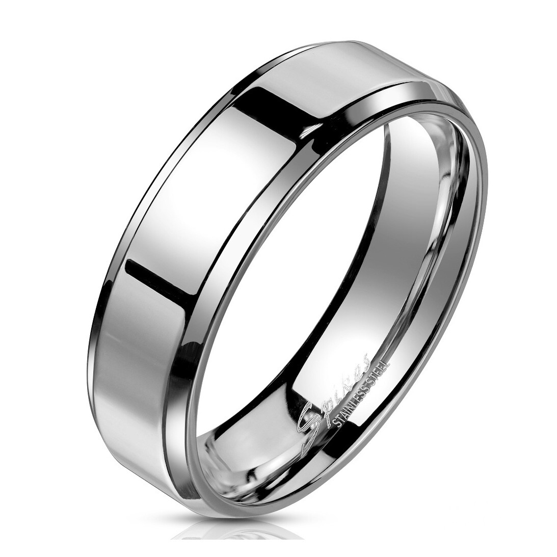 316L SILVER BEVELED RING