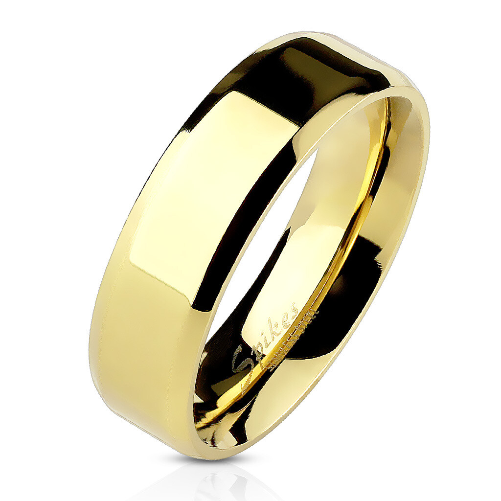 316L GOLD BEVELED RING