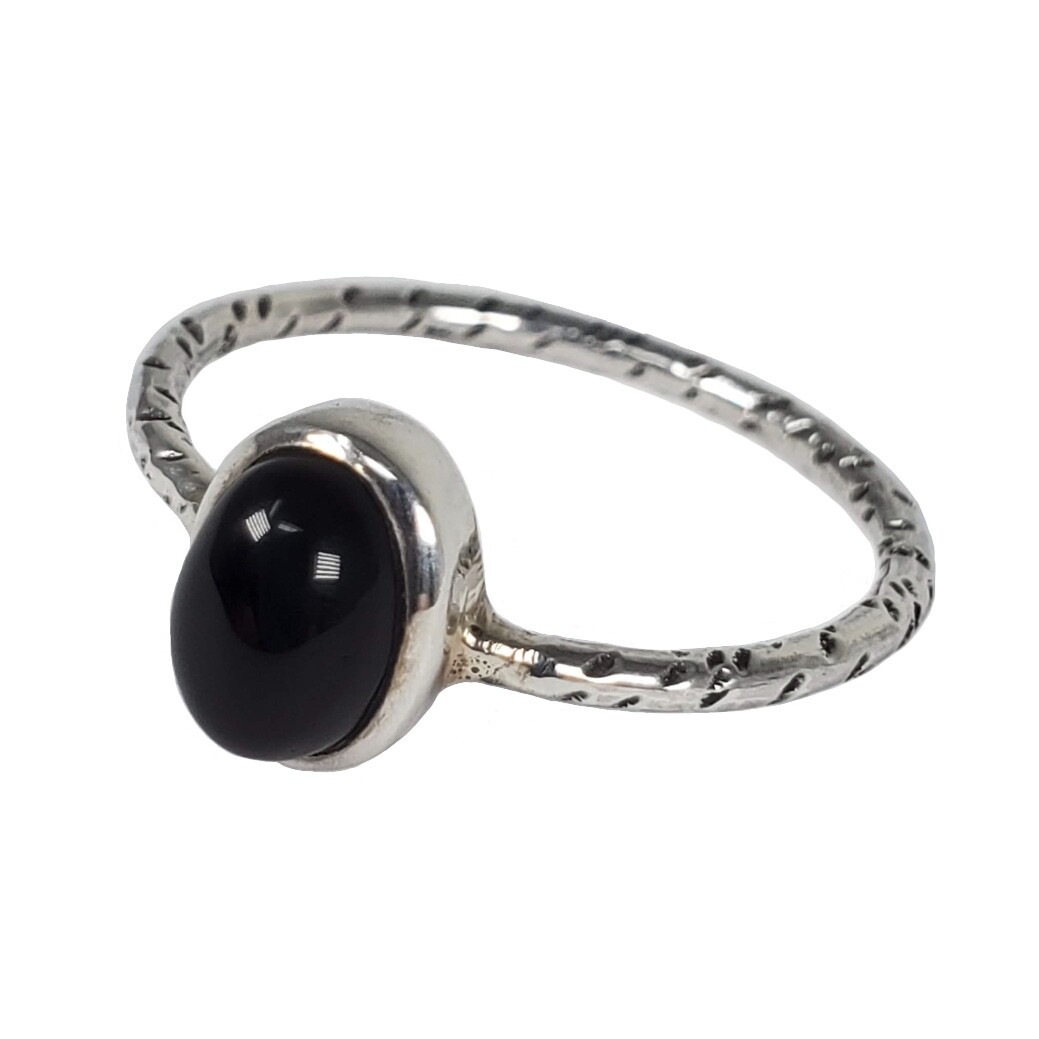 925 BLACK ONYX SIMPLE RING