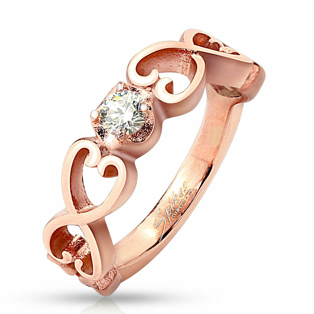 316L ROSE GOLD VINTAGE HEARTS CZ RING