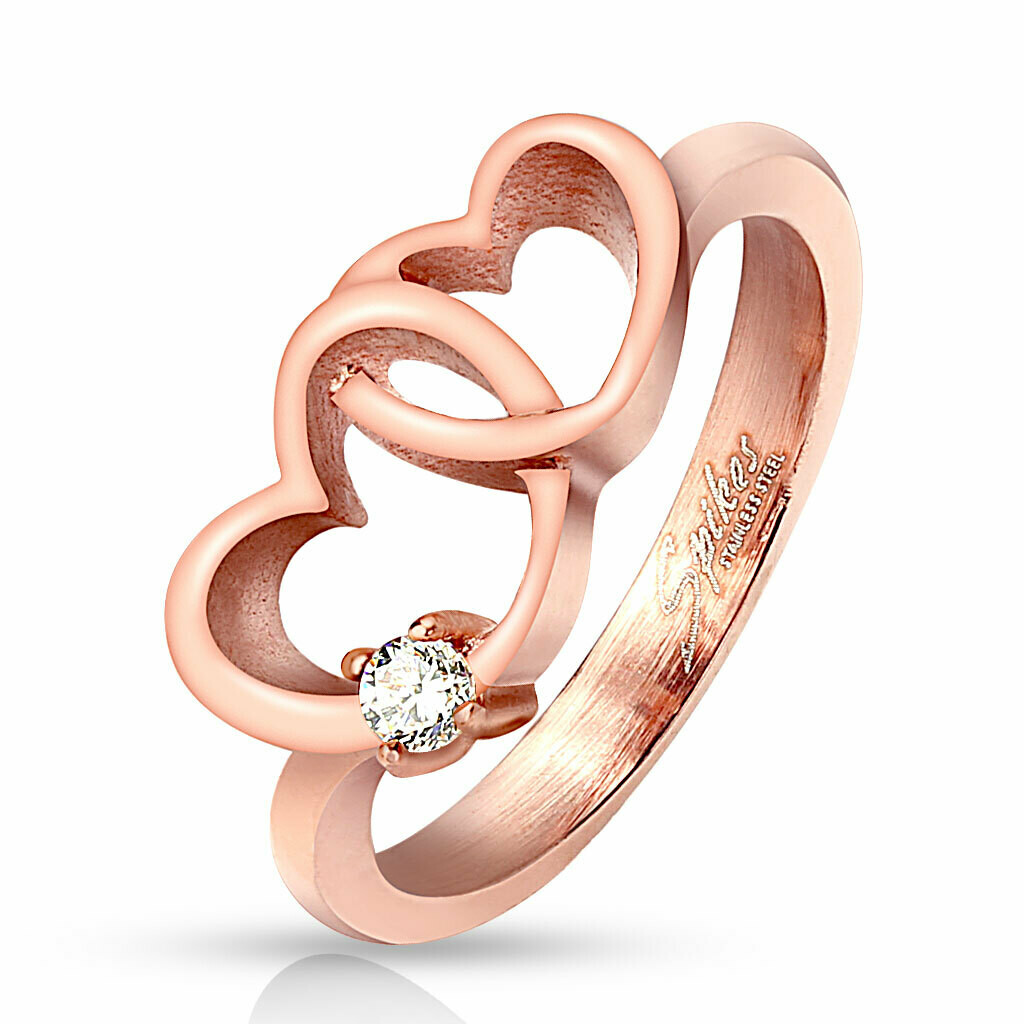 316L ROSE GOLD HEART PAIR CZ RING