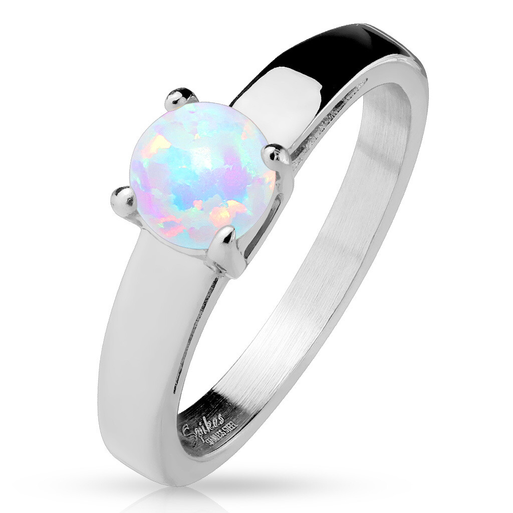 316L ROUND OPAL RING