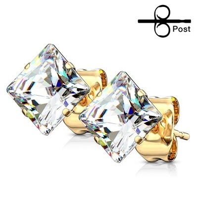 CL SQUARE CZ GOLD EARRINGS