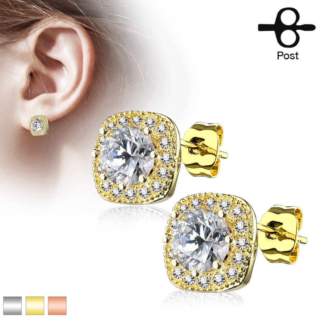 LG CZ RIM SQUARE EARRINGS