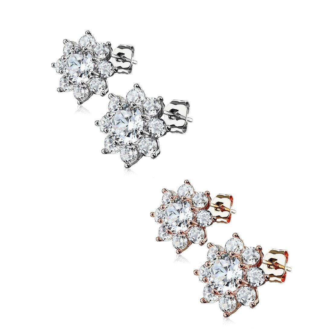 CLEAR RND CZ FLOWER EARRINGS
