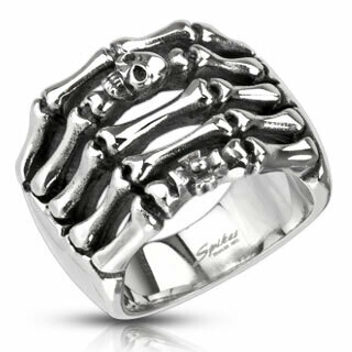 316L SKELETON HAND SKULL RING