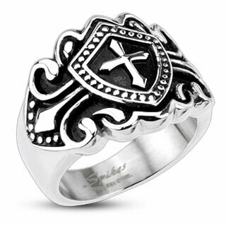 316L CROSS SHIELD RING