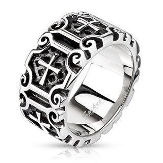 316L MEDIEVAL CROSSES RING