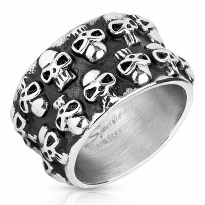 316L DOUBLE LINED SKULLS RING