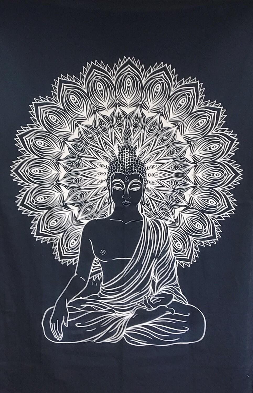 BLK/WHT BUDDHA MEDITATION TAPESTRY