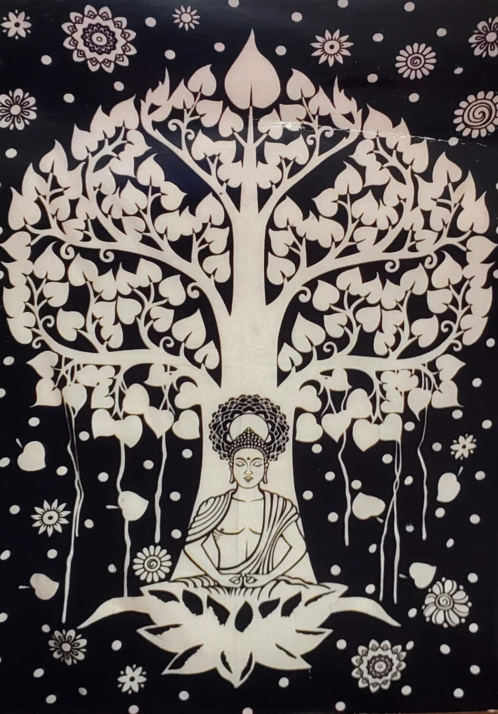 BLK/WHT BUDDHA TREE TAPESTRY