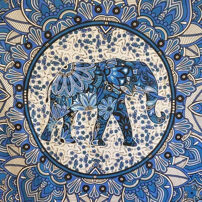 ROUND ELEPHANT FLOWER MANDALA TAPESTRY
