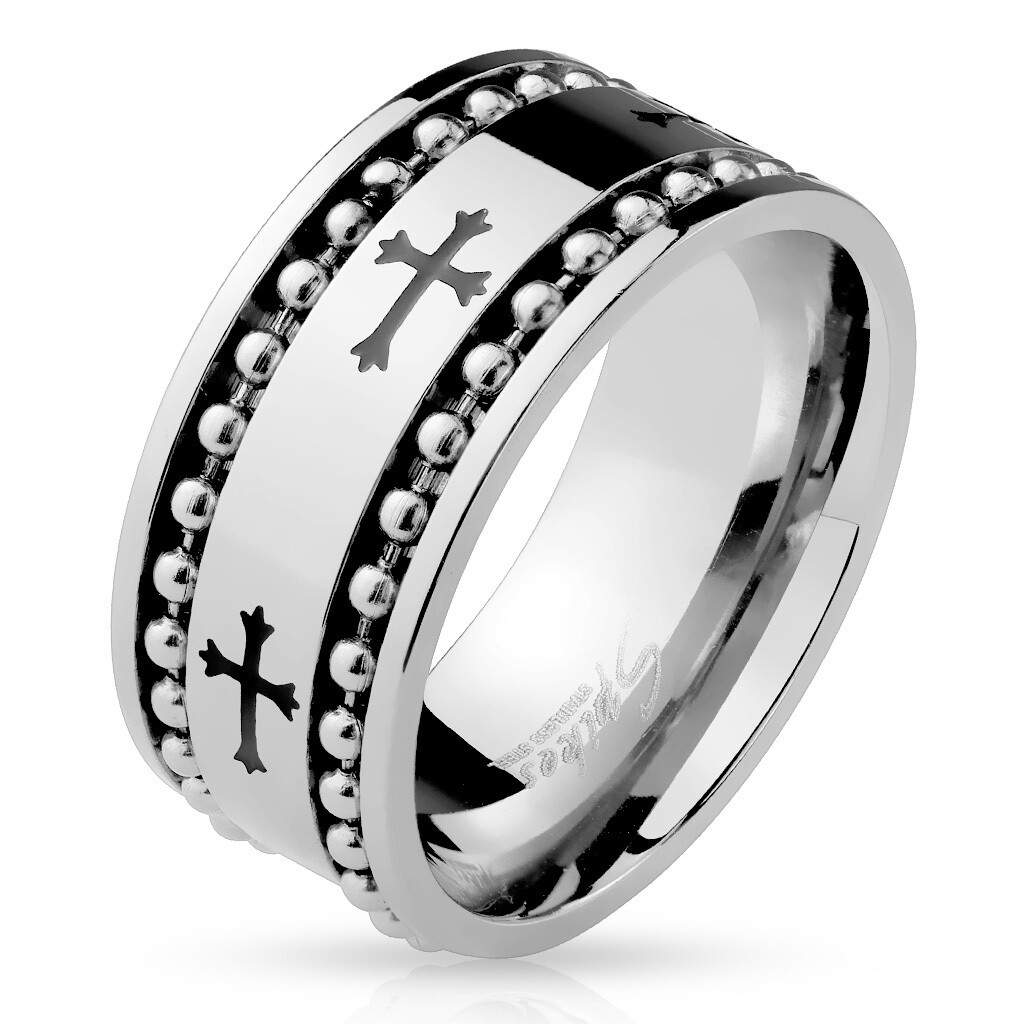 316L BLACK CROSS BALL CHAIN RING 10