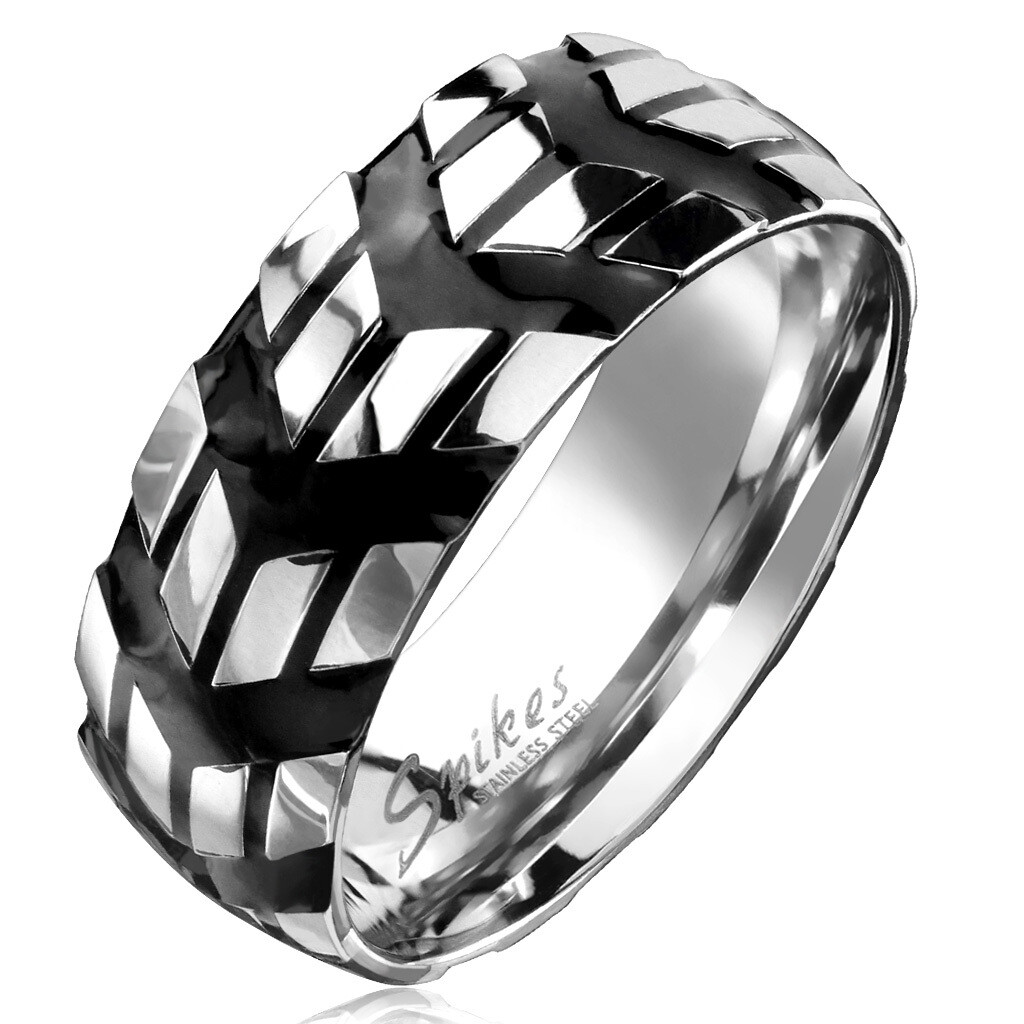 316L BLACK CHEVRON RING