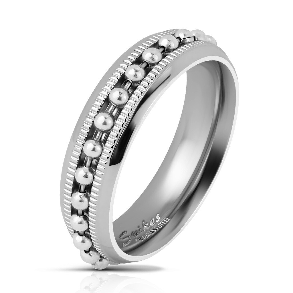 316L BEAD CHAIN SPINNER RING