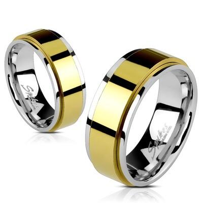316L GOLD IP SPINNER RING