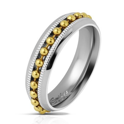 316L GOLD BEAD CHAIN SPINNER RING