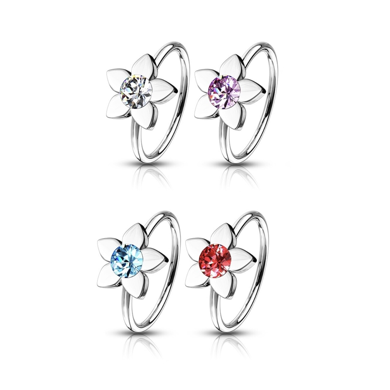 4PK GEM FLOWER LOOPS 20G 5/16""
