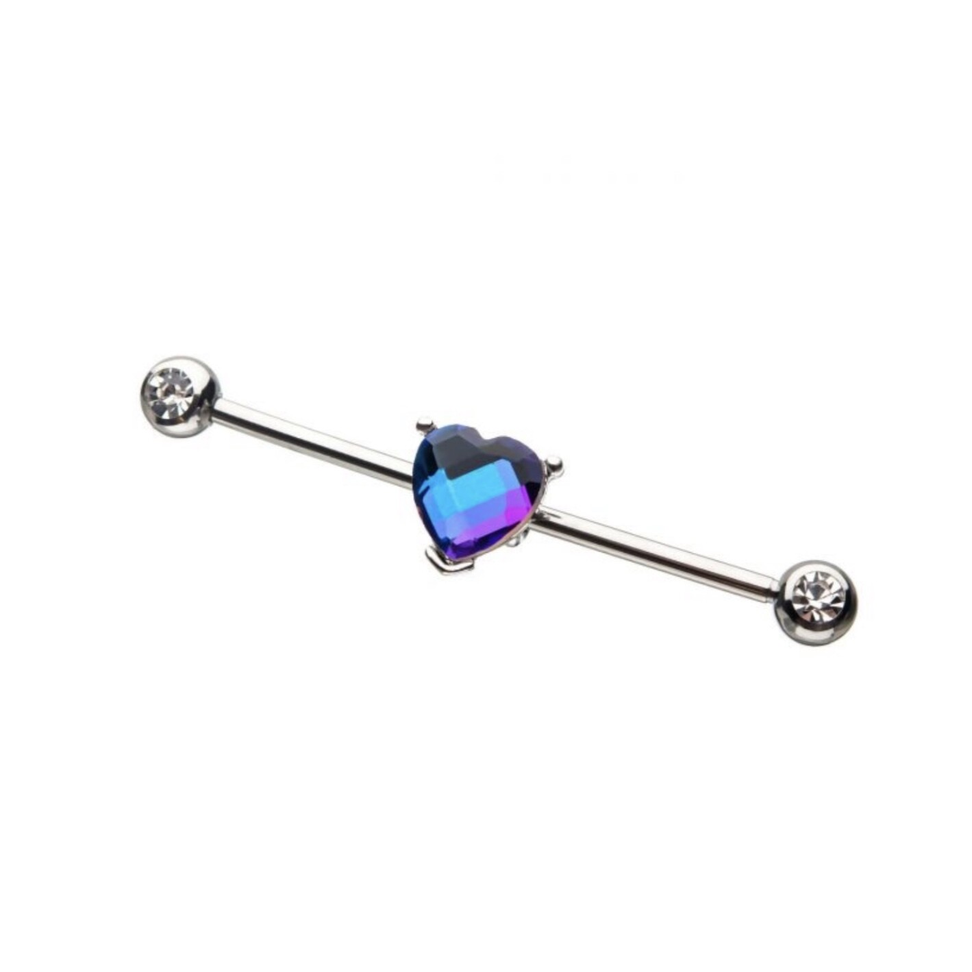 "14G BLUE CRYSTAL HEART 1&3/8"" BAR"