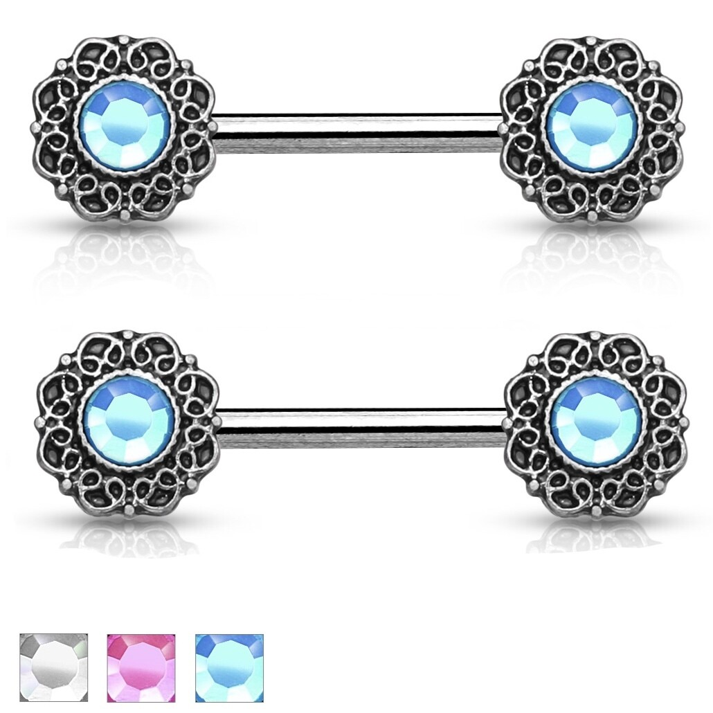 "14G 9/16"" GEM TRIBAL HEART NIPPLE BARS"