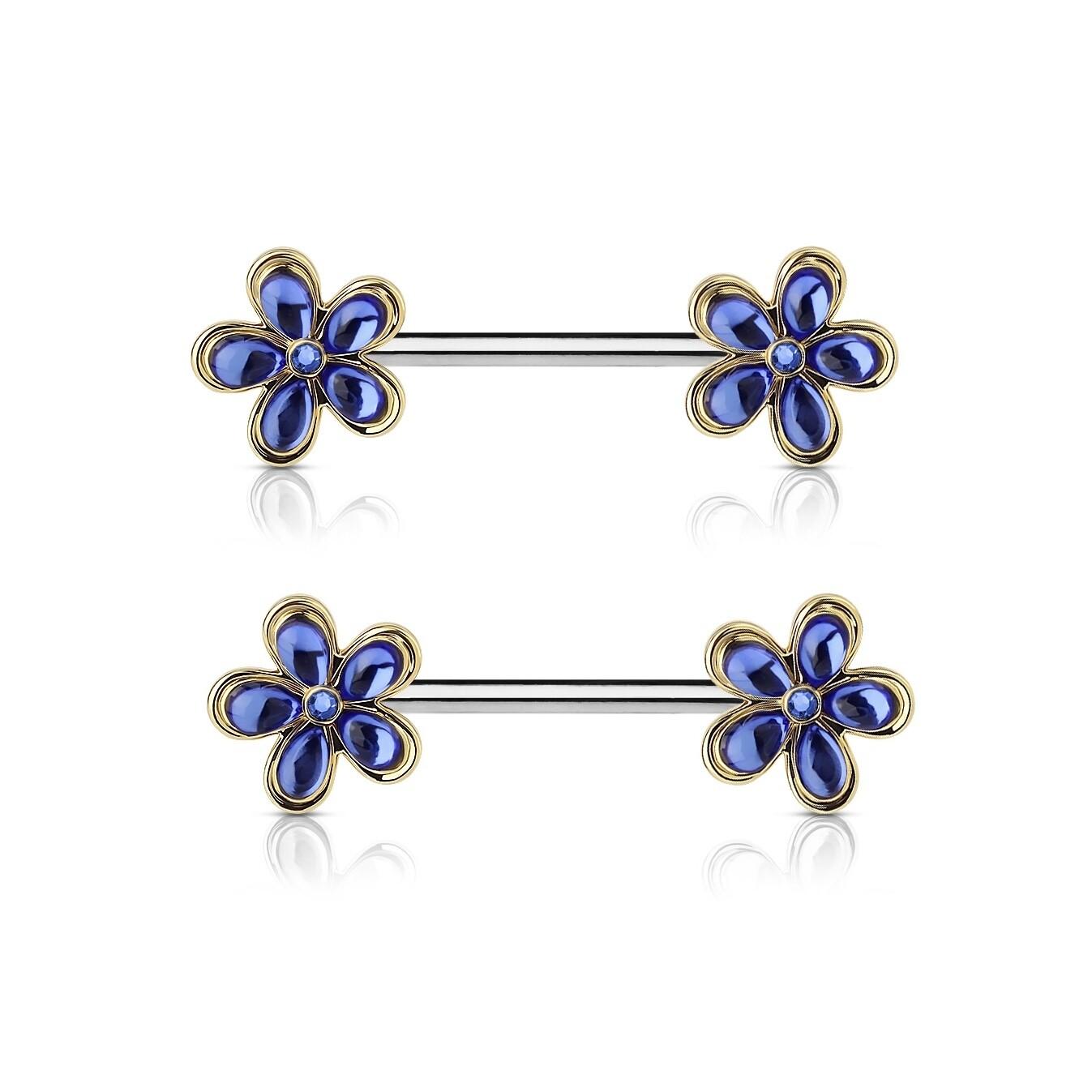 """14G 9/16"""" BLUE/GOLD FLOWER NIPPLE BARS"""