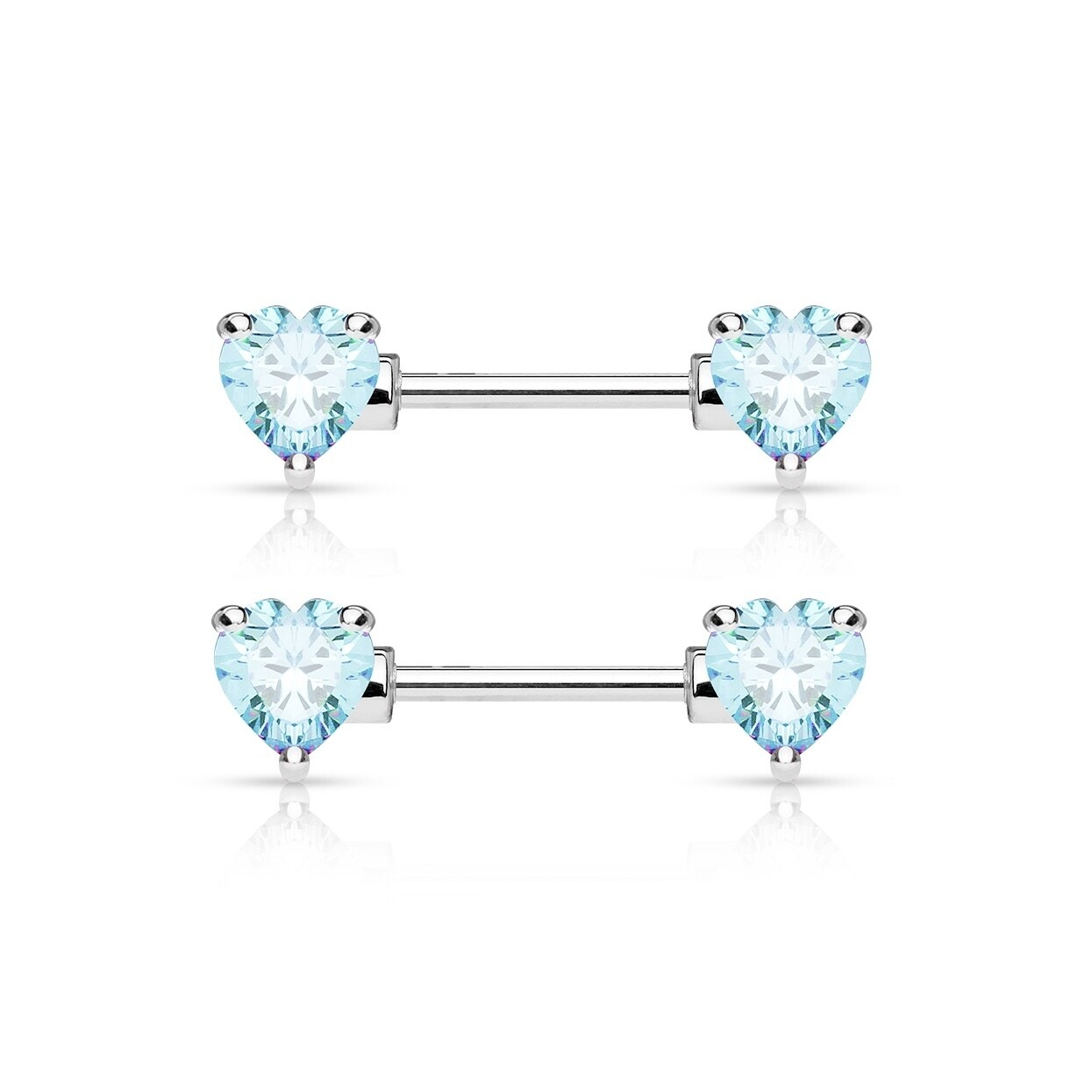 "14G 9/16"" CRYSTAL HEART NIPPLE BARS"