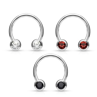 "3PK 16G 3/8"" CLEAR/BLACK/RED FRONTGEM HORSESHOE"