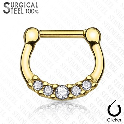 100% STEEL GOLD/CLEAR 5GEMS CLICKER 16G 1/4""