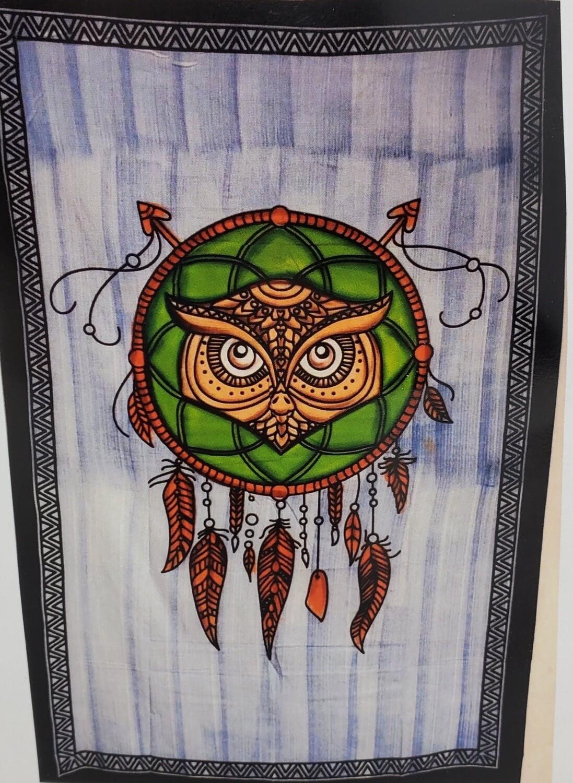 DRAGON OWL DREAMCATCHER TAPESTRY