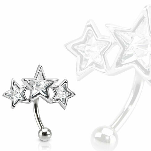 TRIPLE STAR EYEBROW 16G 5/16""