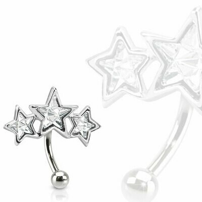 TRIPLE STAR EYEBROW 16G 5/16