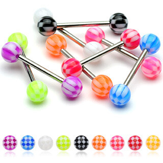 7PK CHECKERBALL TONGUE BARS 14G 5/8