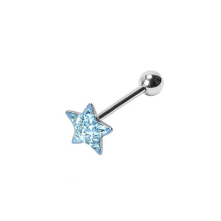 STAR PAVED CRYSTAL TONGUE BAR 14G 5/8""