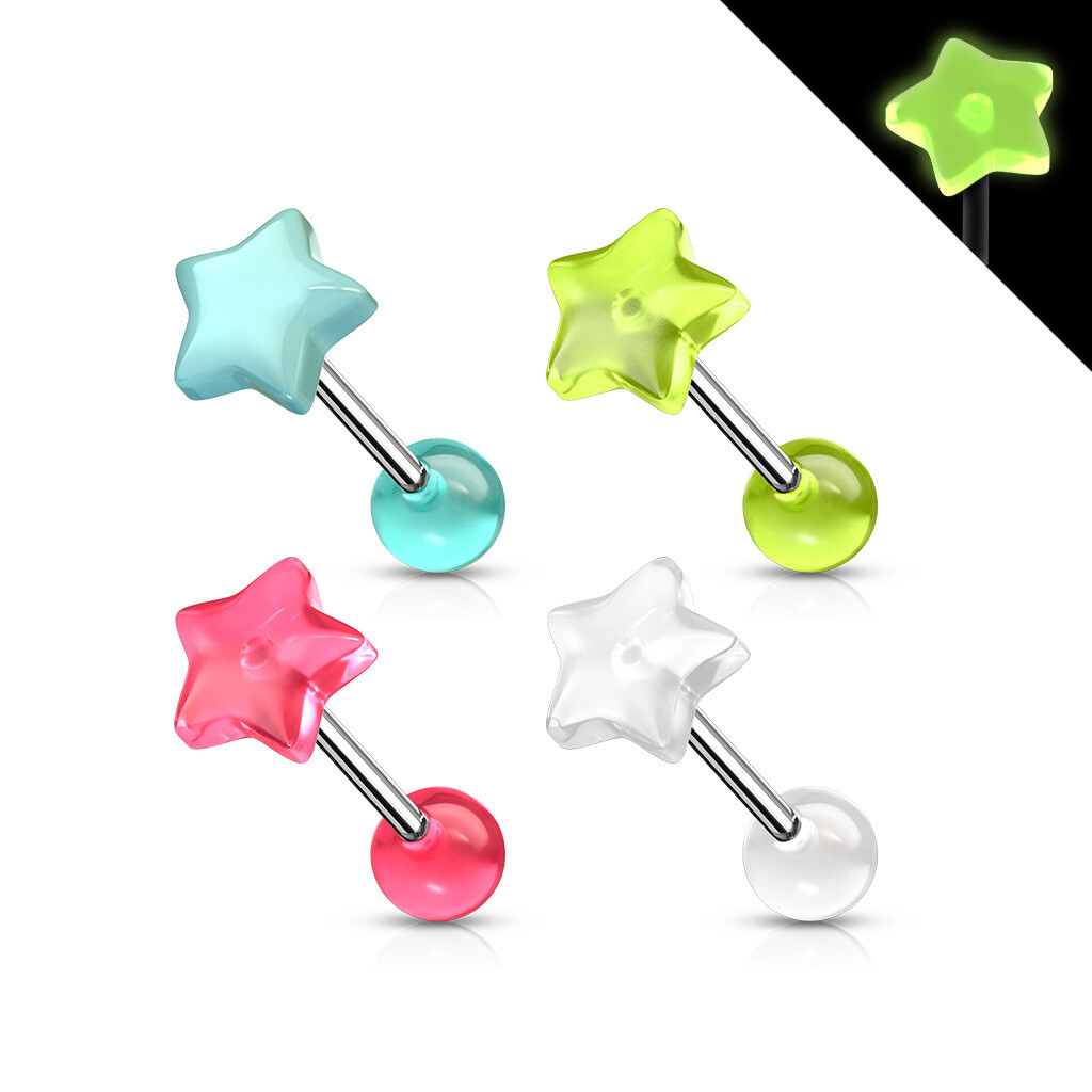 4PK GLOW STAR TONGUE BARS 14G 5/8""
