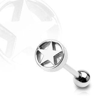 """STAR CIRCLE TONGUE BAR 14G 5/8"""""""