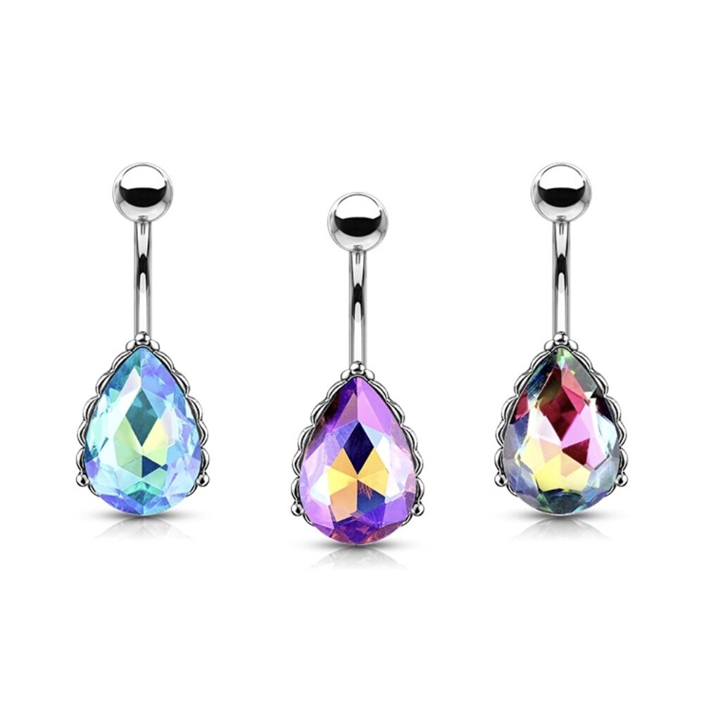 TEARDROP GEM NAVEL 14G 3/8""