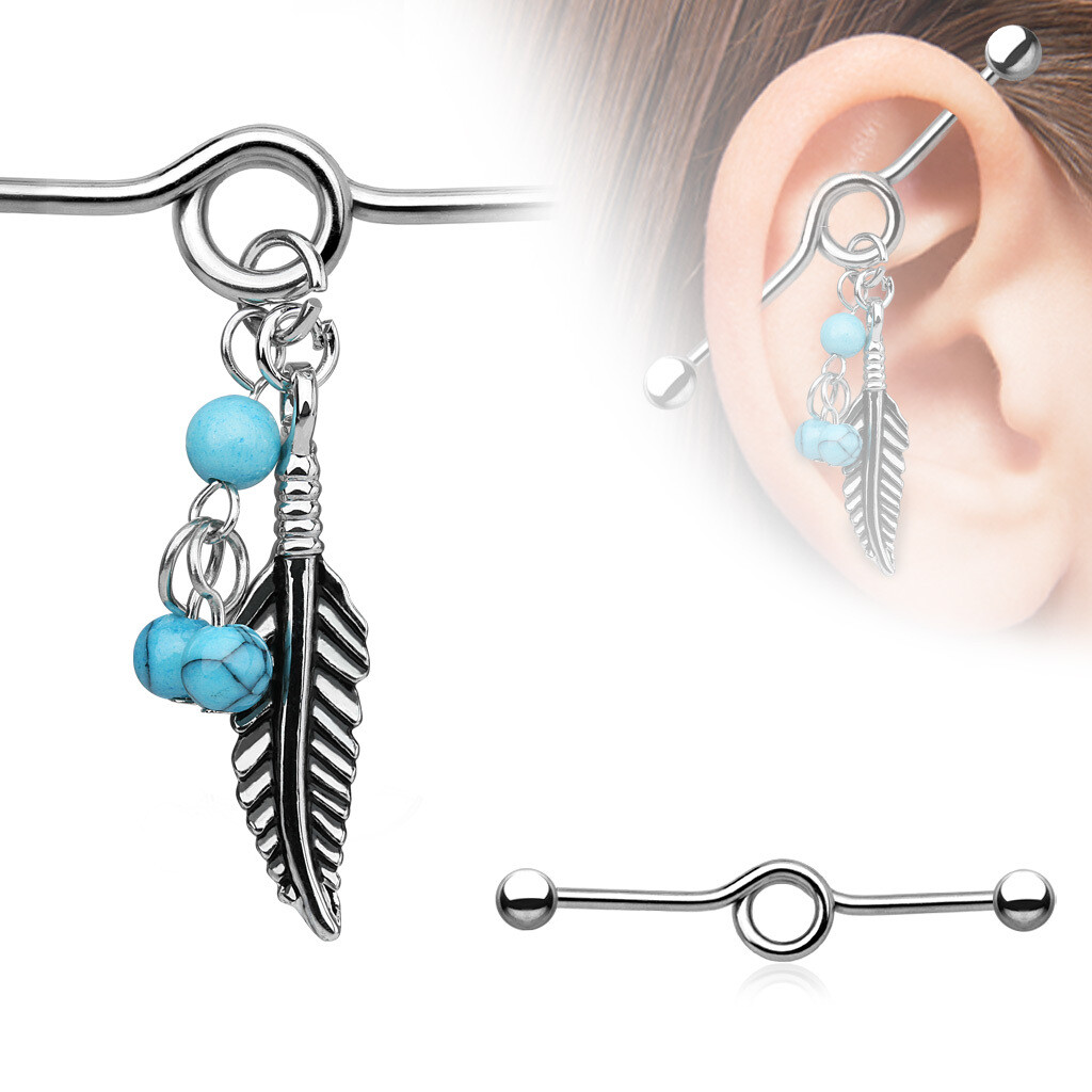 """14G FEATHER BEADS DANGLY 1&1/2"""" BAR"""