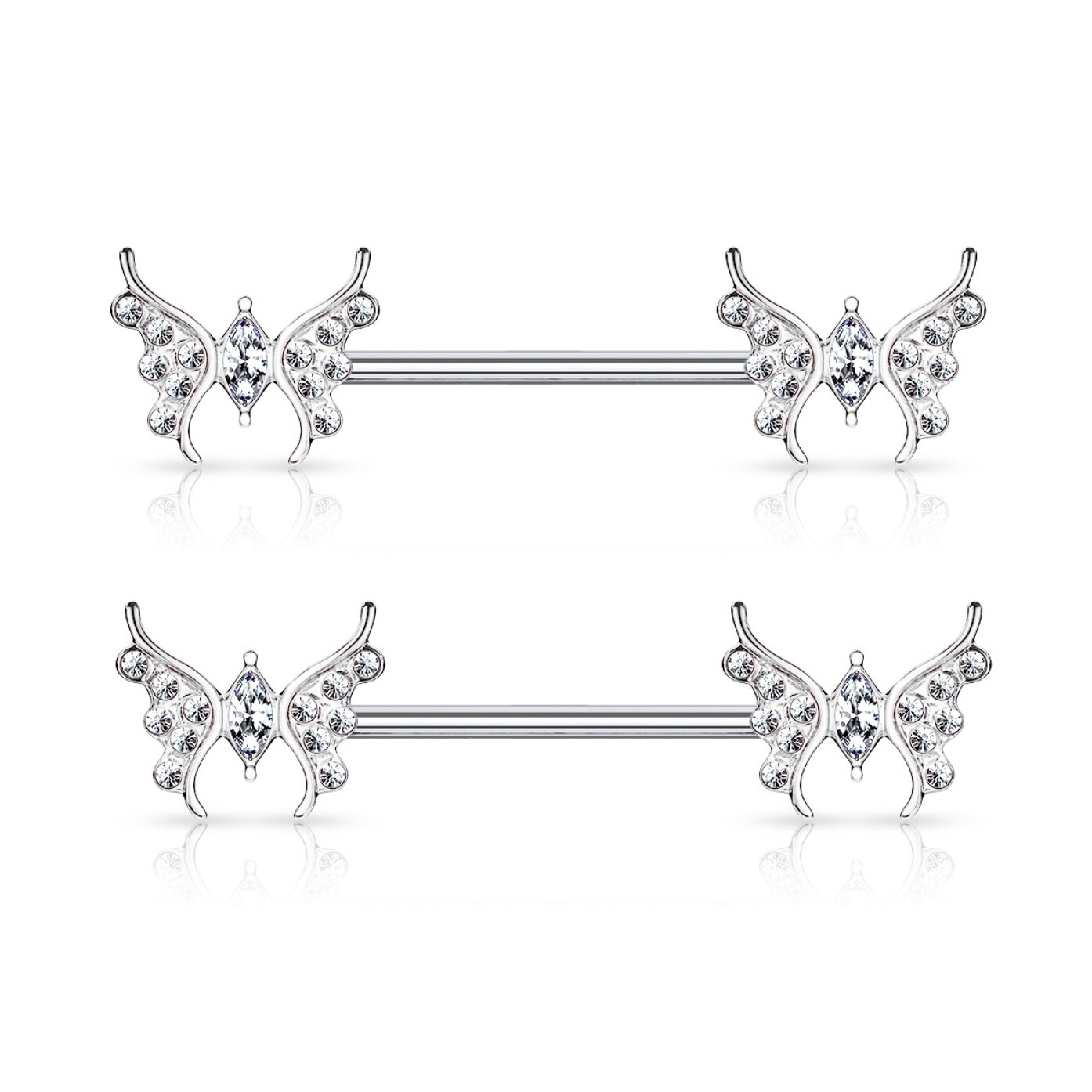 """14G 9/16"""" MARQUISE BUTTERFLY NIPPLE BARS"""