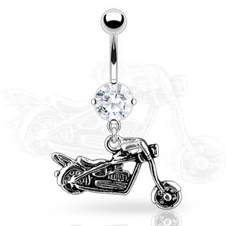 MOTORCYCLE DANGLE NAVEL 14G 3/8""
