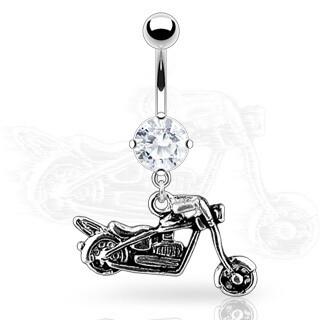 MOTORCYCLE DANGLE NAVEL 14G 3/8