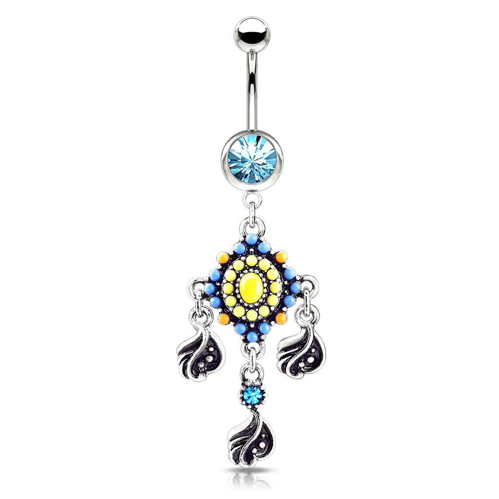 TRIBAL FEATHERS BEAD DANGLE NAVEL 14G 3/8""