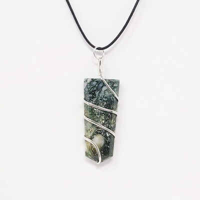 MOSS AGATE FLAT WIRE WRAP NECKLACE