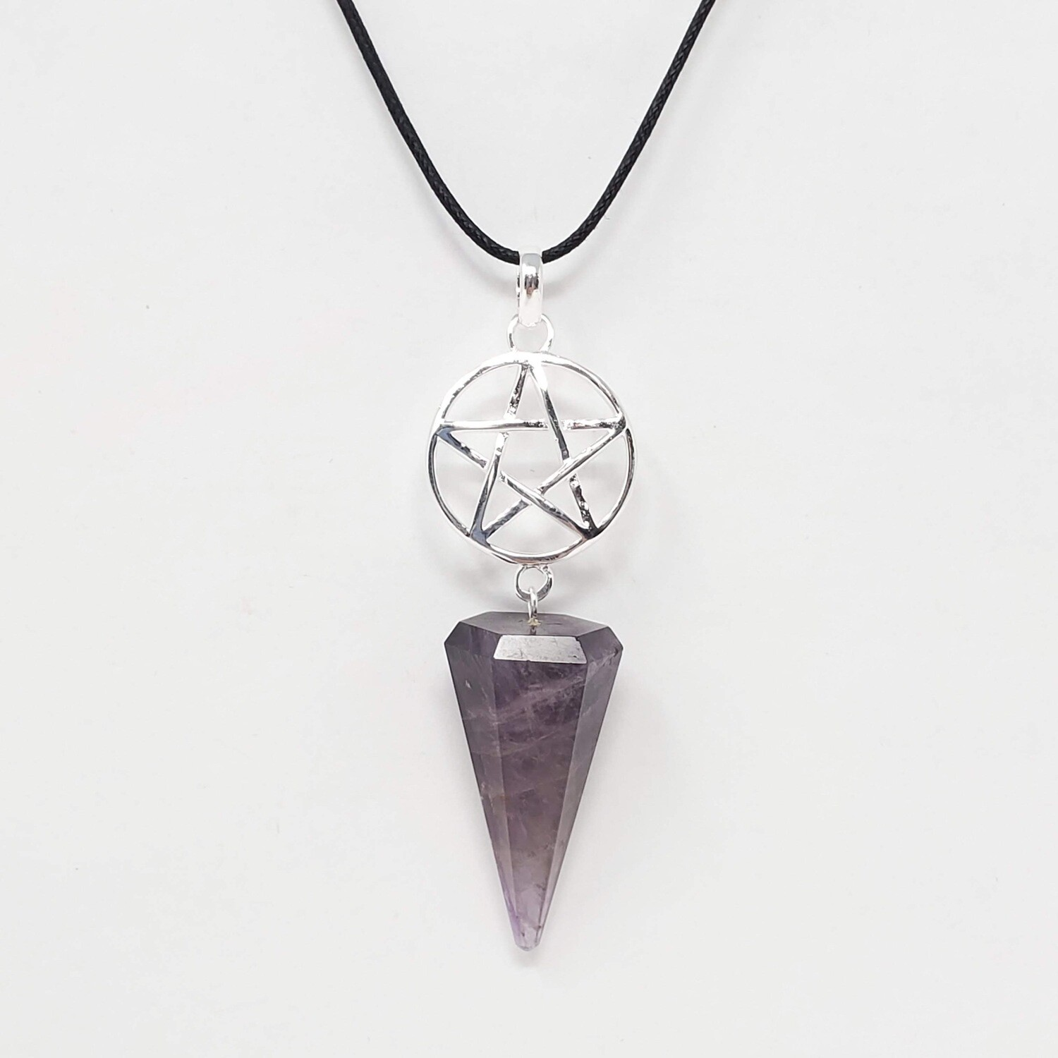 AMETHYST PENTAGRAM STONE POINT NECKLACE