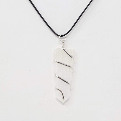 SELENITE FLAT WIRE WRAP NECKLACE