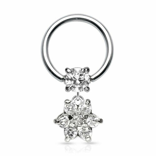 2PK CZ FLOWER DANGLE CBR 16G 3/8""